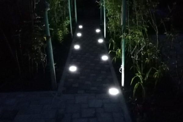 Сад со светящиеся брусчаткой